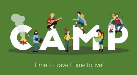 Camp big white lettering green background time to travel title header poster with hiking people vector illustration