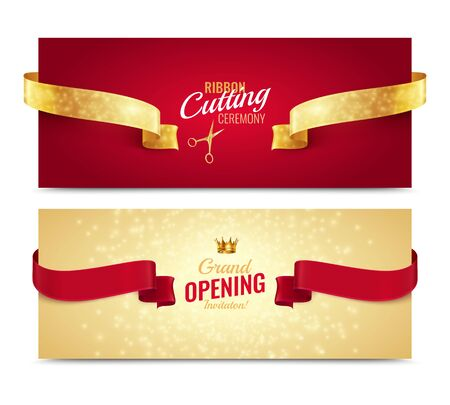 Set of two horizontal opening banners with realistic images of ribbons text and shiny luxury background vector illustration