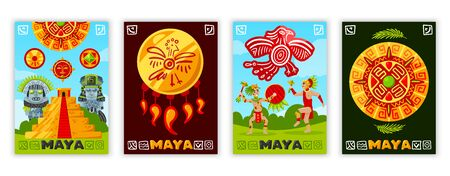 Maya civilization banners set with traditional maya script hieroglyphs doodle human characters and tribal jewelry items vector illustration Illustration