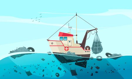 Composición de la contaminación del agua de la naturaleza con un paisaje de mar abierto y una imagen plana de un barco de limpieza que recoge residuos ilustración vectorial