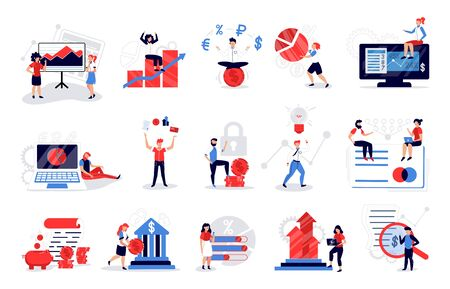 Accounting color set of isolated images with human characters financial graphs and pictograms on blank background vector illustration Çizim