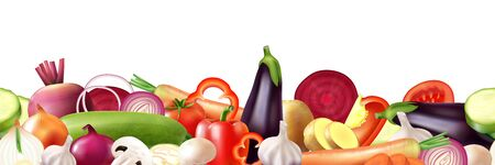 Realistic vegetables border composition with images of mixed ripe whole fruits and slices on blank background vector illustration