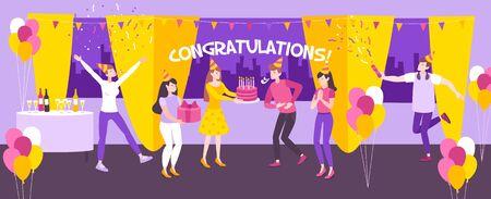 People having fun at birthday party at restaurant flat horizontal banner vector illustration Çizim