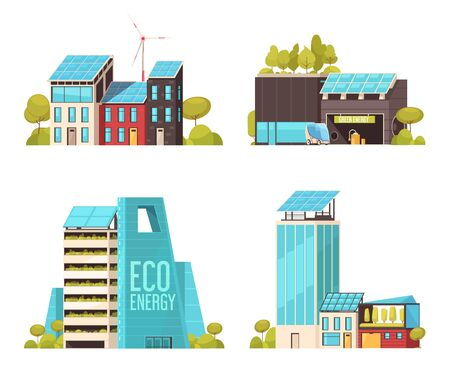 Smart city technology infrastructure services concept 4 flat compositions with eco energy using facilities isolated vector illustration
