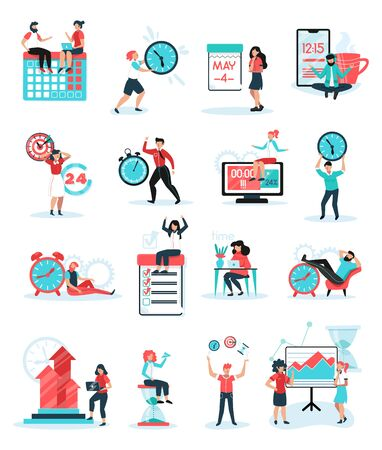 Skuteczne wskazówki dotyczące zarządzania czasem w firmie 16 płaskich ikon z celami współpracy zespołowej z priorytetowym planowaniem ilustracji wektorowych