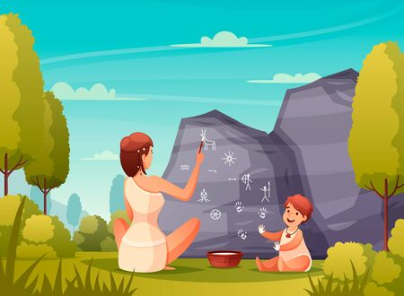 Prehistoric people rock art flat composition with caveman woman and kid painting on cave wall vector illustration