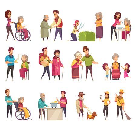 Gli elementi di servizio di assistenza sociale professionale degli anziani volontari familiari supportano l'insieme di elementi piatti del fumetto illustrazione vettoriale isolato Vettoriali