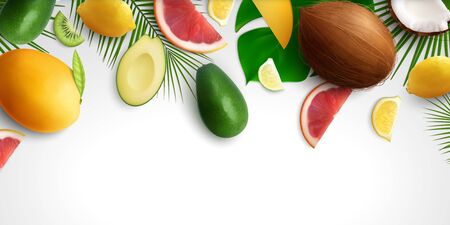 Exotic fruits leaves realistic background with composition of tropical fruit slices and leaves on blank background vector illustration Çizim