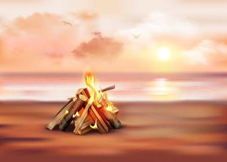 Evening marine landscape at sunset realistic composition with bonfire on sandy shore vector illustration  Çizim
