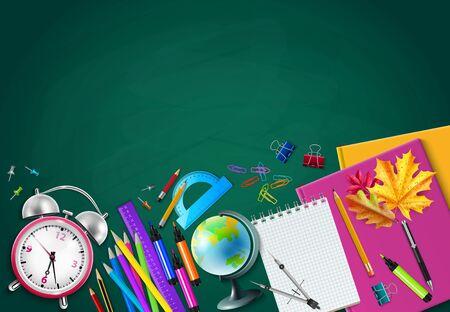 Back to school green chalk board background with pencils globe alarm clock herbarium notebooks realistic vector illustration