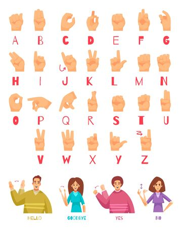 Sign language alphabet set with deaf people talking symbols flat isolated vector illustration Illustration