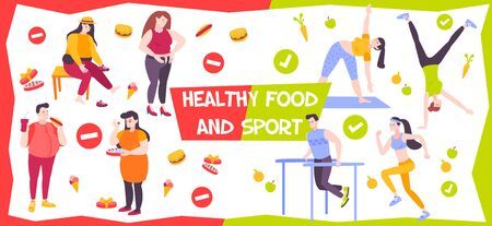 Flat background presenting comparison of proper and bad nutrition lifestyle fat and active people vector illustration