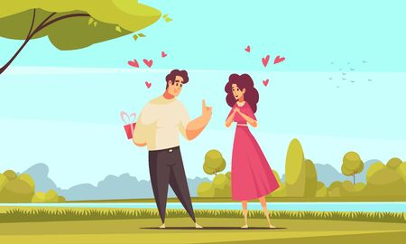 Gift present romantic love composition with outdoor park landscape and flat characters of couple with hearts vector illustration