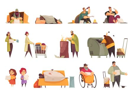 Poor homeless people begging money gathering food from garbage sleeping outdoor flat icons set isolated vector illustration