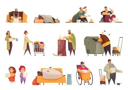 Poveri senzatetto che elemosinano soldi che raccolgono cibo dalla spazzatura che dormono icone piatte all'aperto impostate illustrazione vettoriale isolata