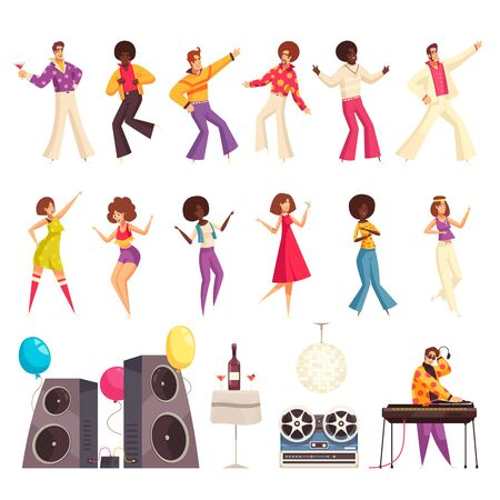 Disco party set with people dancing flat isolated vector illustration