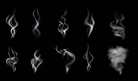Isolated and realistic steam smoke icon set white and translucent on black background vector illustration