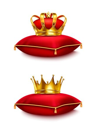 Two golden crowns on red ceremonial pillows isolated on white background realistic vector illustration Illustration