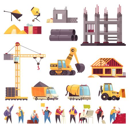 Construction flat set with unfinished building pipes crane bulldozer workers concrete mixer excavator isolated icons vector illustration