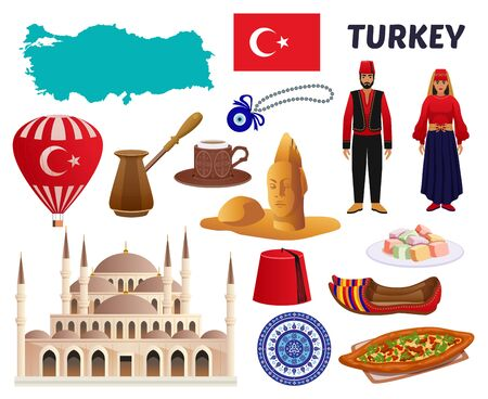 Turkey culture cuisine coffee clothing landmarks tourists attractions places of interest symbols flag map set vector illustration