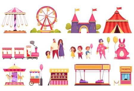 Amusement park isolated icons set of autodrome train carousel medieval castle attractions circus tent and visitors cartoon vector illustration