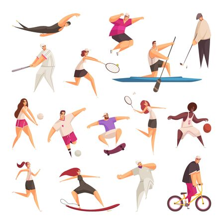 Summer sport set of isolated doodle style human characters of sportspeople with implements on blank background vector illustration Çizim