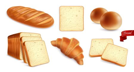Set with isolated bread realistic images of wheat products with croissants and toast bread with ribbon vector illustration