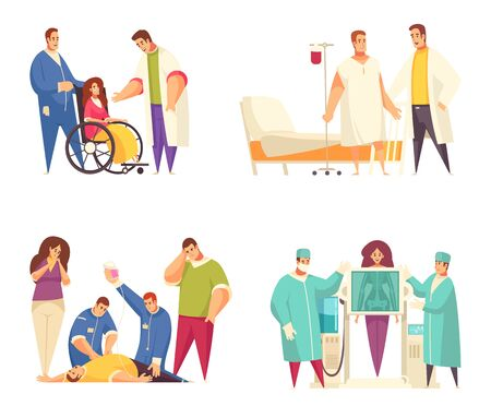 Flat medical design concept set with nursing home reanimation fluorography rehabilitation descriptions vector illustration Çizim