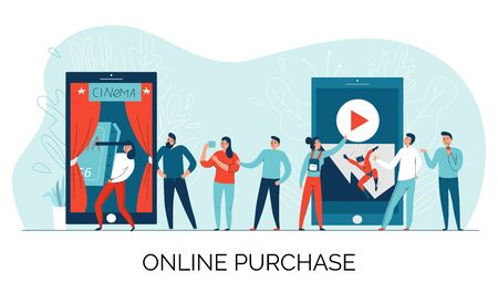 Cinema online ticket composition with online purchase description and queue for tickets vector illustration