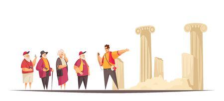 Composición de excursión de guía con personajes planos de ancianos y guía con ruinas de arquitecturas antiguas ilustración vectorial