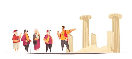 Guide excursion composition with flat characters of old people and guide with ruins of ancient architectures vector illustration Иллюстрация