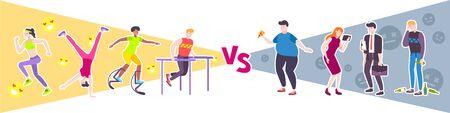 Sport vs faules Designkonzept mit Menschen, die einen ungesunden Lebensstil führen, und eine Gruppe von Sportlern, die sich mit der flachen Vektorillustration des Trainings beschäftigen Vektorgrafik