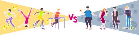 Sport vs lazy design concept with people leading unhealthy lifestyle and group of athletes engaged in workout flat vector illustration Illustration