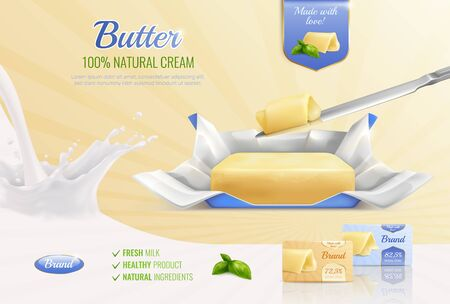 Dairy butter realistic composition as mockup for advertising brand with text fresh milk healthy product natural ingredients vector illustration
