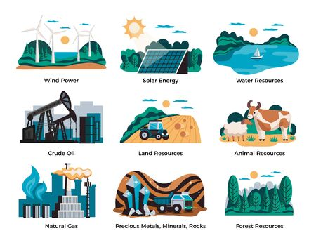 Natural environmental resources set with wind power and solar energy symbols flat isolated vector illustration Çizim