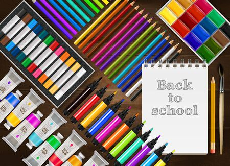 Back to school realistic background with colorful pencils markers crayons paints notepad brush on wooden table vector illustration Çizim