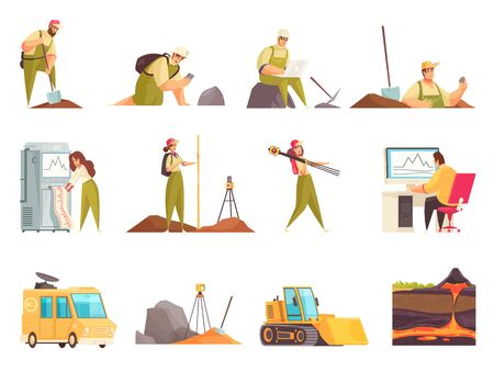 Geologist set of isolated flat doodle style icons and images with geology workers equipment and transport vector illustration
