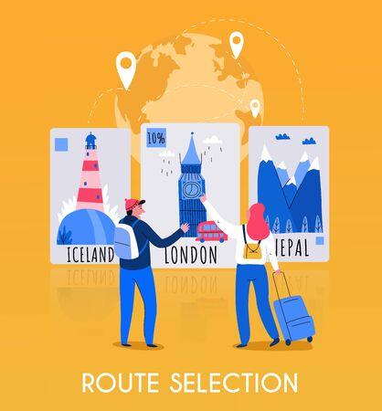 Flache Tourismuskartenzusammensetzung mit Routenauswahlbeschreibung und paar Reisenden Vektorillustration