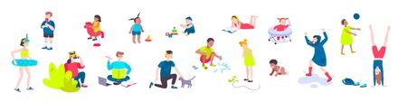 Flat set of icons with children of different age playing reading studying drawing isolated on white background vector illustration  イラスト・ベクター素材