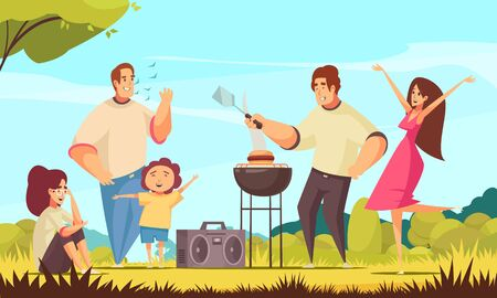 Bbq party composition with sunny weather outdoor landscape and group of kids and adult doodle characters vector illustration