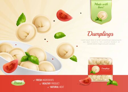 Dumplings ravioli manti advertising composition with realistic images dish tomatoes and pack shot with editable text vector illustration 일러스트