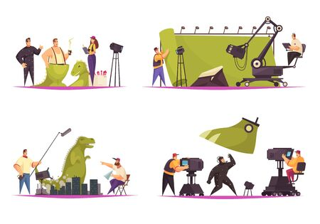Cinema movie film production concept 4 comic flat compositions with shooting actor in dinosaur costume vector illustration