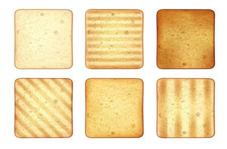 Set of square roasted toasts bread realistic images with different patterns and toppings on blank background vector illustration