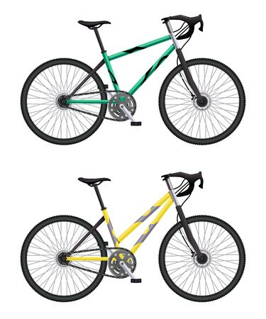 Realistic bicycle set with two different models of mtb hardtail bike isolated images on blank background vector illustration  イラスト・ベクター素材