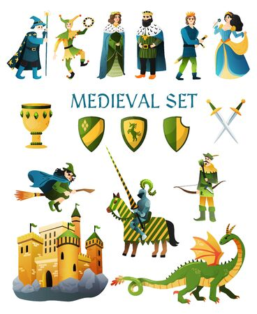 Medieval kingdom fairy tale flat icons set with castle magician king queen jester witch horseman vector illustration Stockfoto - 129244333
