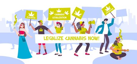 Manifestation meeting cannabis legalization composition with people and banners legalize cannabis now vector illustration