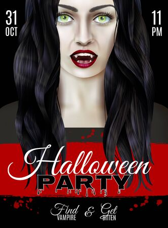 Halloween party poster with scary woman wearing vampire teeth realistic vector illustration