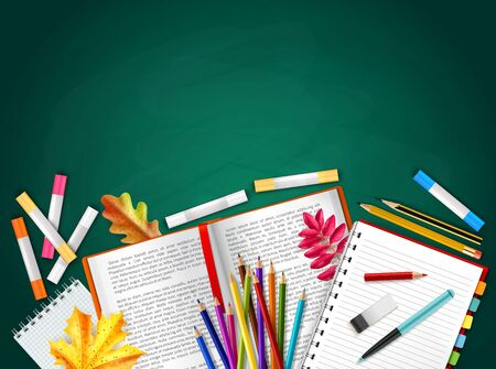 Back to school realistic background with books pencils crayons autumn leaves rubber vector illustration