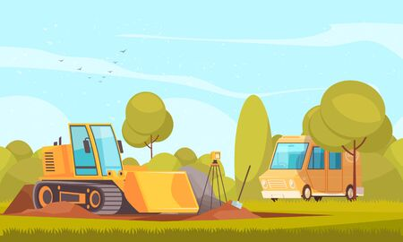 Geology equipment composition with flat sunny outdoor landscape and images of van and bulldozer digging ground vector illustration Illustration