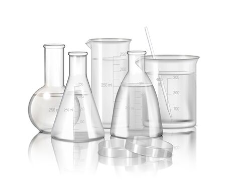 Laboratory glassware monochrome composition  with flasks and beakers on smooth reflective surface realistic vector Illustration